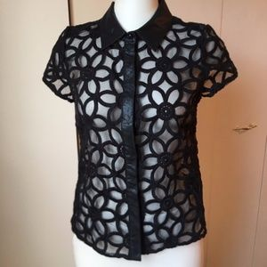 Pins & Needles Floral Sheer Faux Leather Trim Top